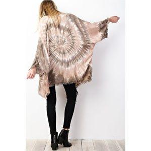 Sweaters - Tie Dye Kimono Wrap Cardigan New